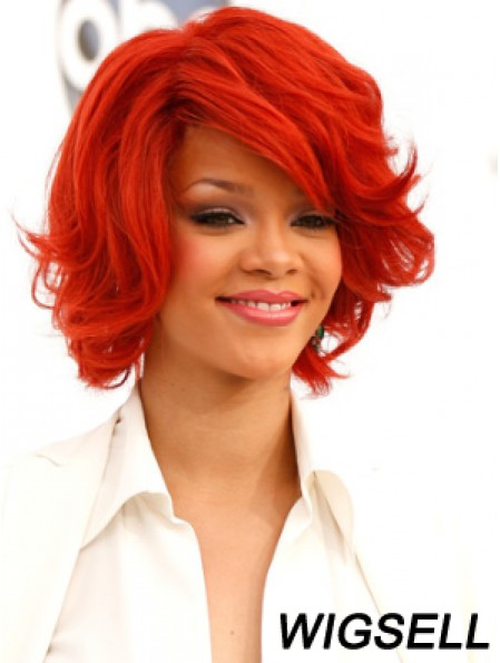 Red Wavy With Bangs 100% Hand-tied 12 inch Popular Rihanna Wigs