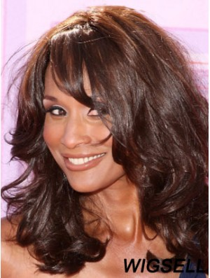 Black Long Wavy With Bangs Lace Front 16 inch Beverly Johnson Wigs