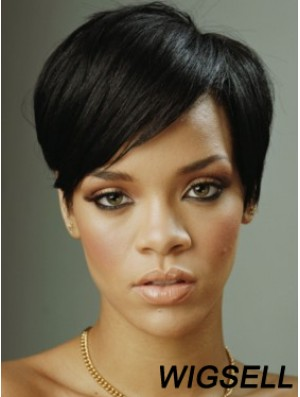 Black Straight With Bangs Lace Front 8 inch Designed Rihanna Wigs