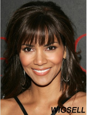 Lace Front Wavy With Bangs Long Sleek 16 inch Halle Berry Wigs