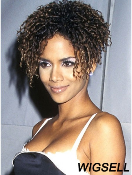 Lace Front Curly Without Bangs Short Modern 8 inch Halle Berry Wigs