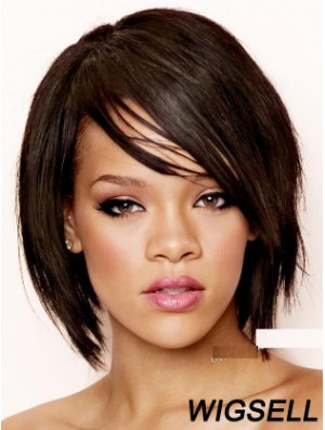 Black Straight With Bangs 100% Hand-tied 8 inch Soft Rihanna Wigs