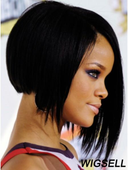 Black Straight Layered Lace Front 10 inch Sassy Rihanna Wigs