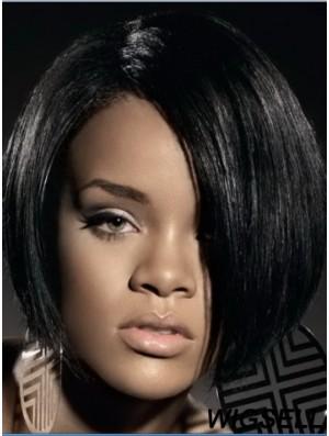 Black Straight Layered Lace Front 10 inch Stylish Rihanna Wigs