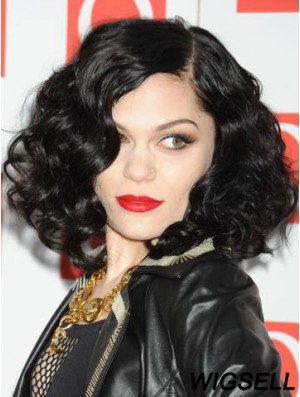 14 inch Beautiful Black Chin Length Curly Without Bangs Jessie J Wigs