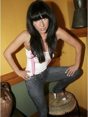 20 inch Beautiful Long Straight With Bangs Lady Gaga Wigs