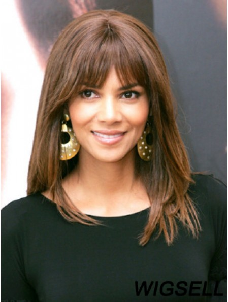 Full Lace Straight With Bangs Shoulder Length Trendy 14 inch Halle Berry Wigs