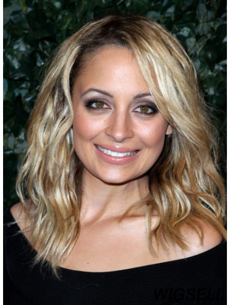 Convenient Blonde Shoulder Length Wavy 14 inch Layered Nicole Richie Wigs