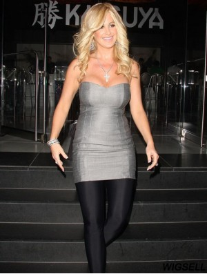 Durable 16 inch Long Curly With Bangs Lace Front Kim Zolciak Wigs