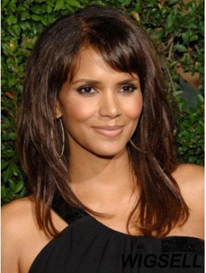 Lace Front Straight With Bangs Long Stylish 16 inch Halle Berry Wigs