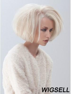 Fashion Medium Bob Wigs Platinum Color Straight Style Chin Length