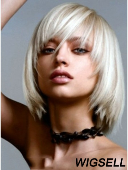 Bobs Wig Chin Length Lace Front Wig Silver Platinum Color