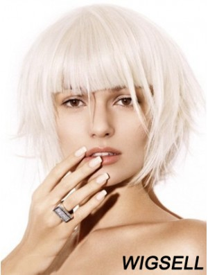 Bob Wig Fashion Platinum Capless Wig UK New 10 Inch