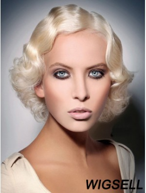 Lace Front Layered Chin Length Wavy 10 inch Platinum Blonde Fashionable Fashion Wigs