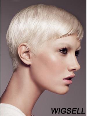 "Capless Boycuts Short Straight 8"" Platinum Blonde Fabulous Fashion Wigs"
