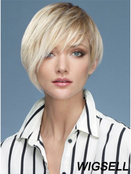 Capless Boycuts Short Straight 10 inch Platinum Blonde Sassy Fashion Wigs