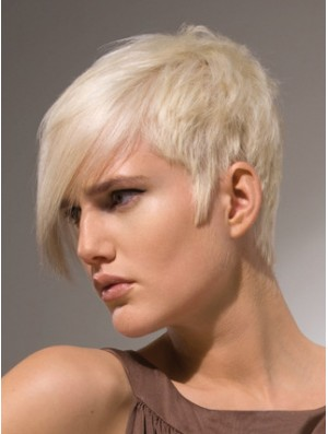 "Capless Boycuts Short Straight 8"" Platinum Blonde Stylish Fashion Wigs"