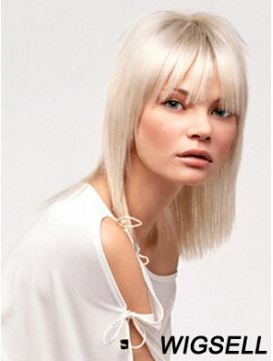 Lace Front With Bangs Shoulder Length Straight 14 inch Platinum Blonde No-Fuss Fashion Wigs