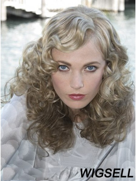 Lace Front Grey Shoulder Length Curly 16 inch Durable Fashion Wigs