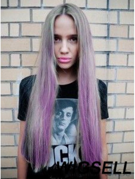 """Fashionable Ombre/2 Tone Long Straight Without Bangs 28"""" Human Lace Wigs"""