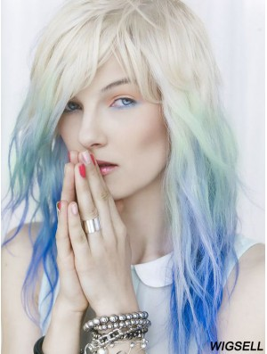 """Ideal Ombre/2 Tone Long Wavy With Bangs 18"""" Human Lace Wigs"""