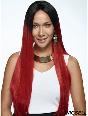 """22"""" Ombre/2 Tone Long Without Bangs Straight Exquisite Lace Wigs"""