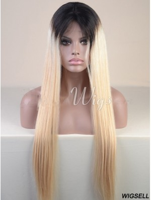 Long Ombre/2 Tone Straight Without Bangs Cheapest African American Wigs
