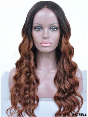 Long Ombre/2 Tone Wavy Without Bangs Good African American Wigs
