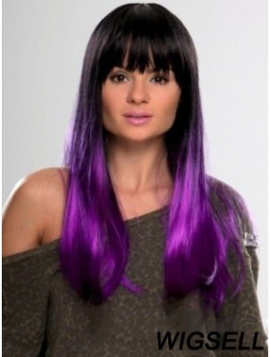 """Sassy Ombre/2 Tone Long Straight With Bangs 22"""" Human Lace Wigs"""