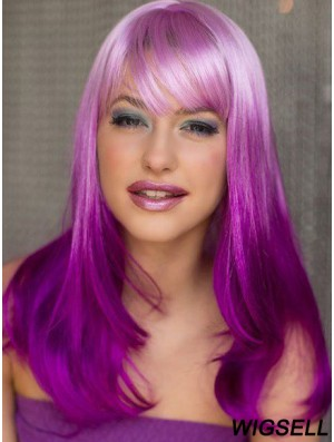 """Amazing Ombre/2 Tone Long Wavy With Bangs 18"""" Human Lace Wigs"""