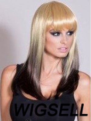 """Affordable Ombre/2 Tone Long Straight With Bangs 20"""" Human Lace Wigs"""