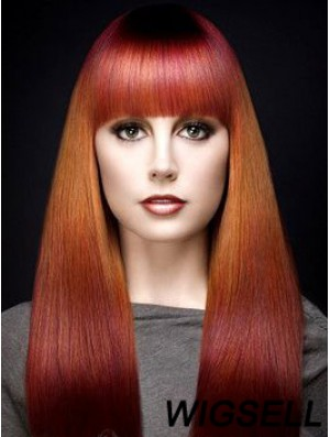 """Popular Ombre/2 Tone Long Straight With Bangs 18"""" Human Lace Wigs"""