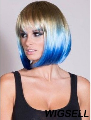 """Discount Ombre/2 Tone Short Straight With Bangs 14"""" Human Lace Wigs"""