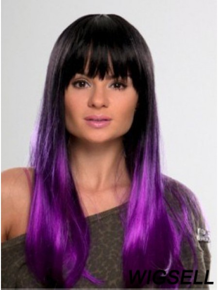 """Long Straight With Bangs Lace Front 10"""" Affordable Black Women Wigs"""