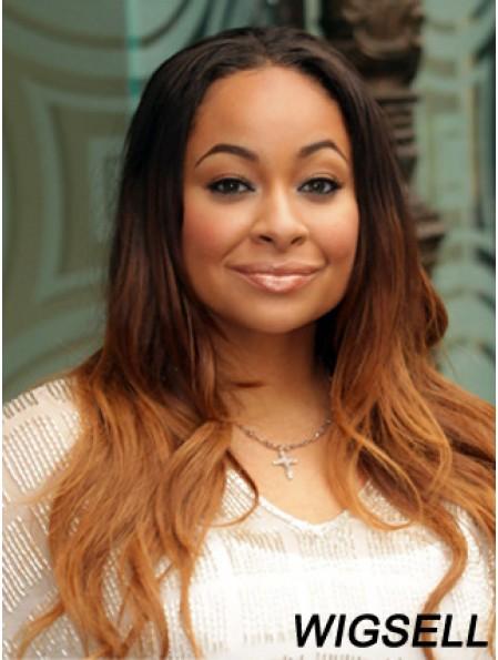 "Long Wavy Without Bangs Lace Front 22"" Fashion Black Women Wigs"