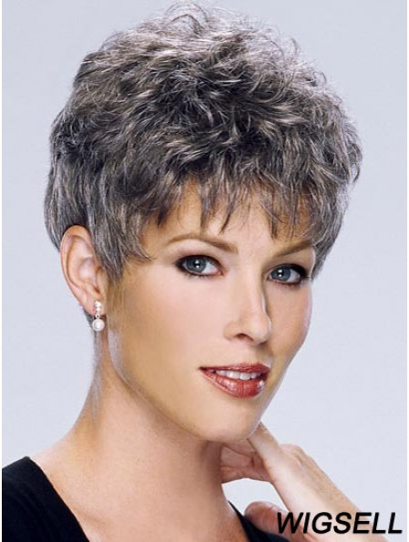 White Wigs For Elderly Lady Cropped Length Capless Grey Cut
