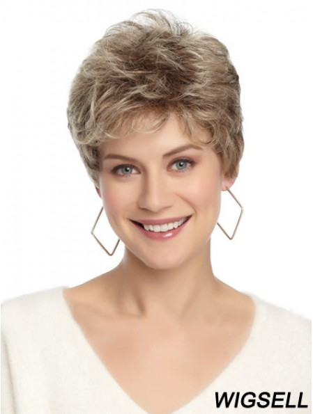 Synthetic Affordable Cropped Wavy Grey Wigs
