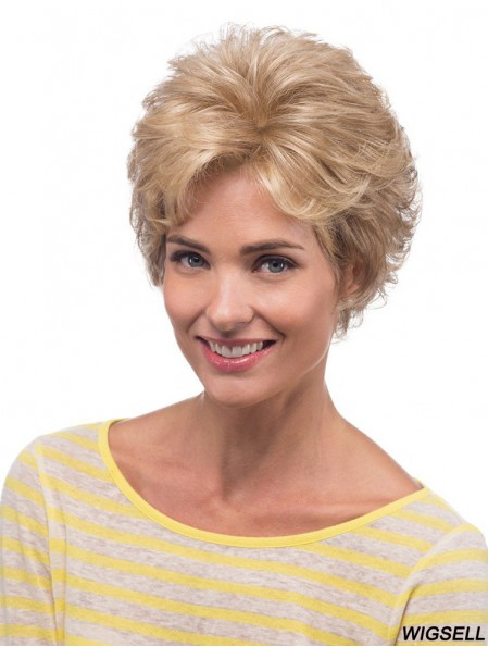 Curly Blonde Natural Short Classic Wigs