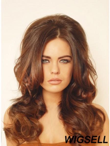 Human Hair Auburn Long Wavy Falls Clip In Hair Toppers