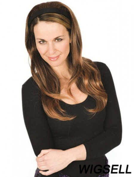 Long Wavy Brown Good Remy Human Hair Half Wigs
