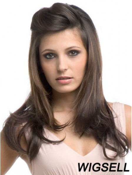 Long Wavy Brown Cheapest Synthetic Half Wigs