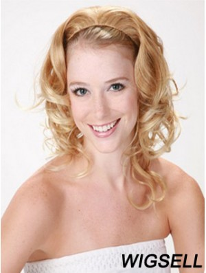 Shoulder Length Curly Blonde Style Synthetic Half Wigs