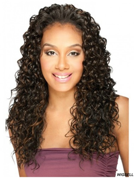 Long Curly Brown Best Indian Remy Hair Half Wigs