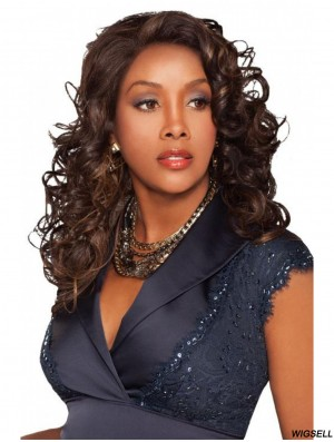 Curly Indian Remy Hair Brown Long Stylish 3/4 Wigs