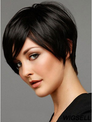 Human Hair Black Wig Boycuts Short Wig For Women Fashion Capless Wig