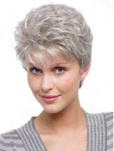 Grey Wig For Old Women Short Wavy Synthetic Wig UK