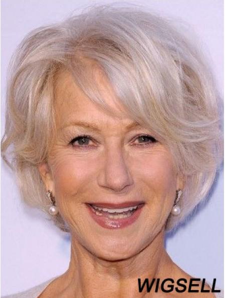 Cheap Grey Wigs Remy Human Grey Cut Wavy Style Short Length