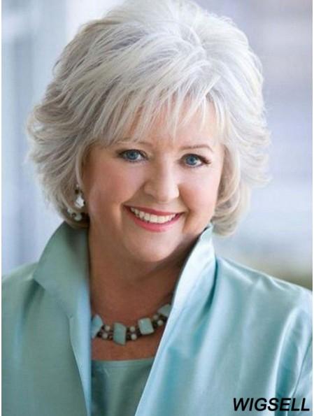 Grey Wig For Older Ladies Human Hair Capless Wig