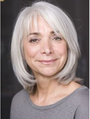 Straight Lace Front 12 inch Hairstyles Chin Length Grey Wigs
