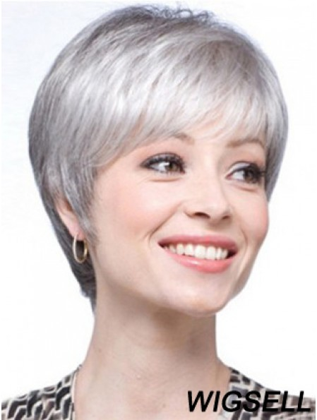 Short Wigs UK Straight Style With Capless Grey Cut